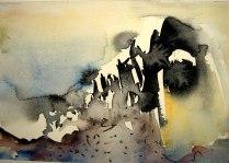 Fjeldrytmer, akvarel, 26x14,5 cm – Lofoten 2014